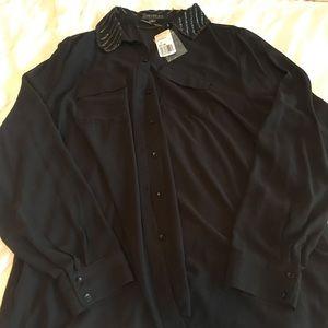 Forever 21 Beaded Collar Shirt